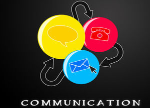 SMS phone mail modern communication industry colorful ppt template