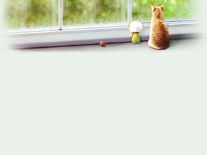 The kitten in the warm room looks out the background picture through the frozen glass windows