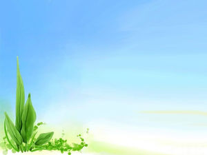 Vector Green Leaves Light Blue Background Image
