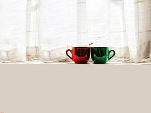 Window side pretty couple cup ppt background picture