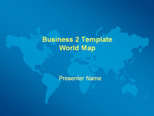 World map blue background ppt template