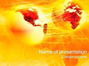 World map orange background ppt template
